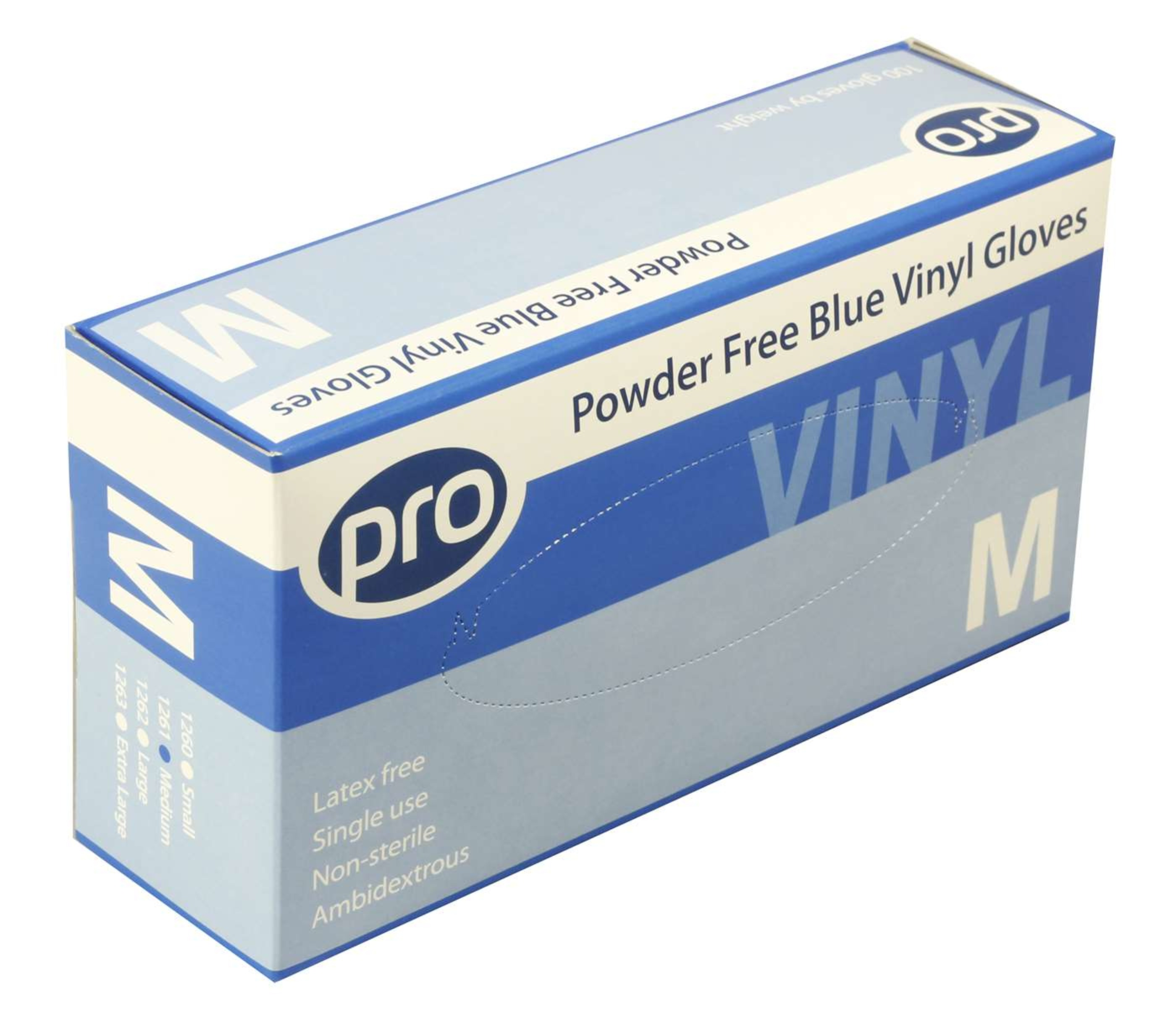 Blue Vinyl Gloves Powder Free - Medium 1x100