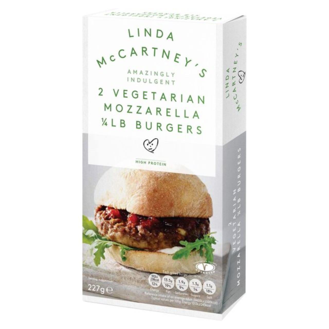 Linda McCartney's Mozzarella Burgers 1x2