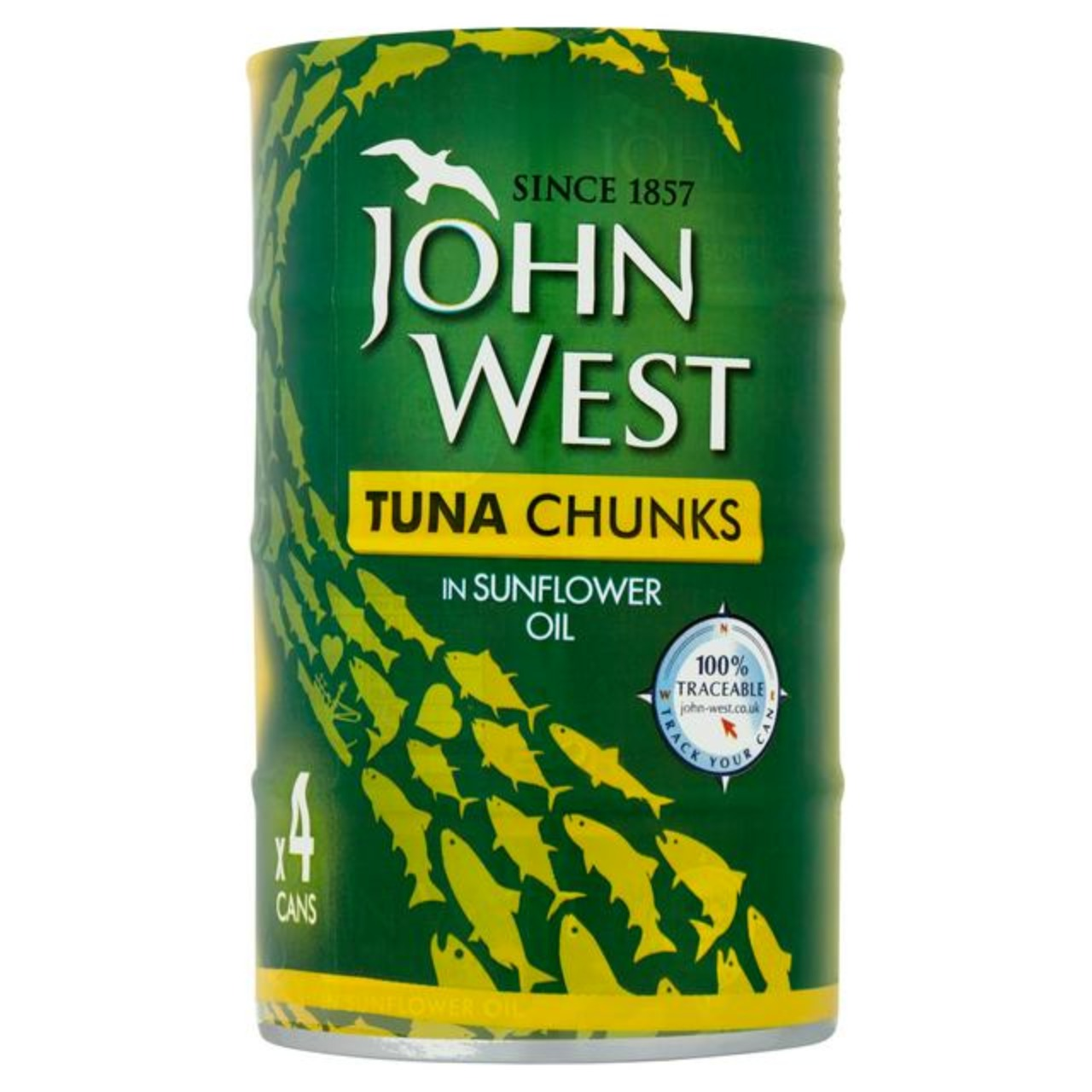 John West Tuna Chunks in Sunflower Oil 4 Pack (4x145g)