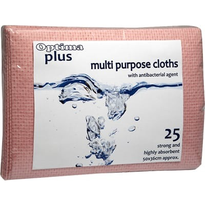 Red Anti-Bacterial Multipurpose Cloth Pack of 25
