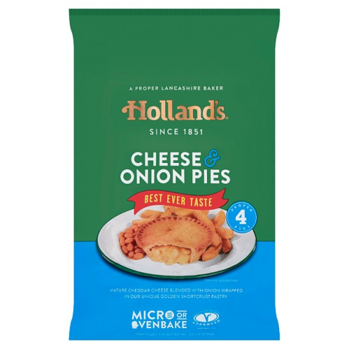 Hollands Cheese & Onion Pies 1x4