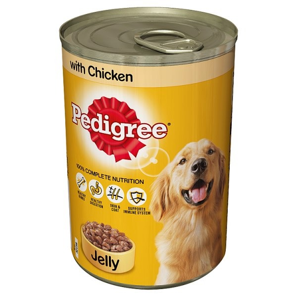Pedigree Wet Dog Food Tin with Chicken in Jelly 1x385g