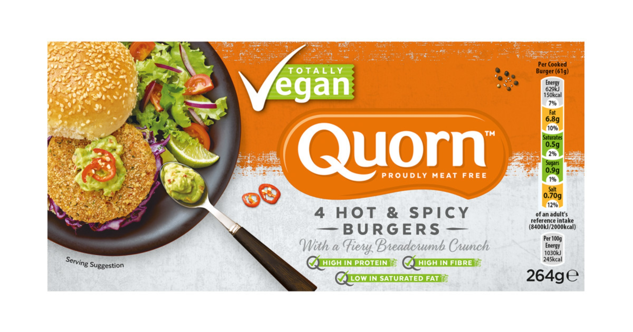 Quorn Vegan Hot & Spicy Burgers 1x264g