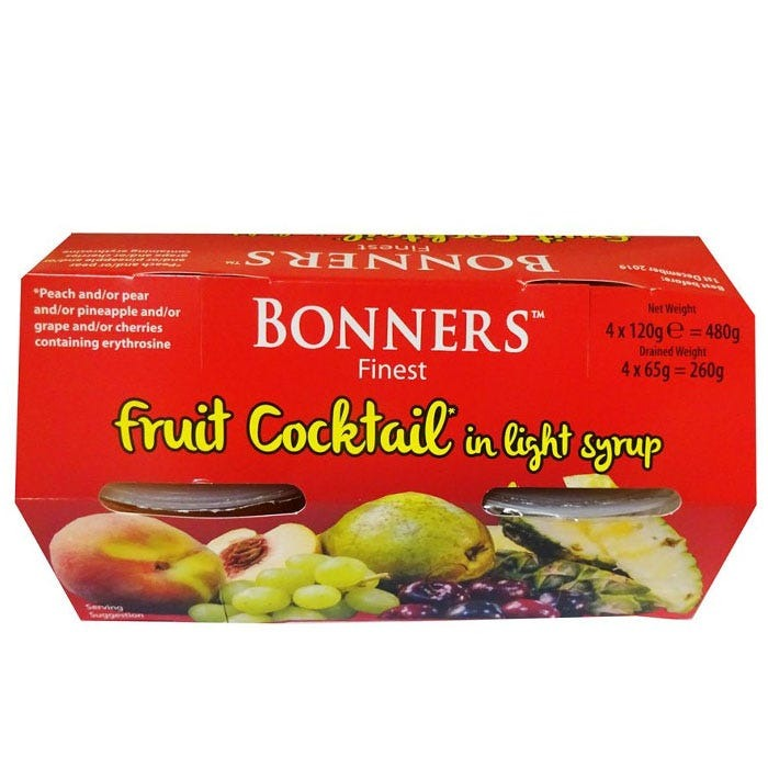 Bonners Finest Fruit Cocktail in Light Syrup 4 Pack