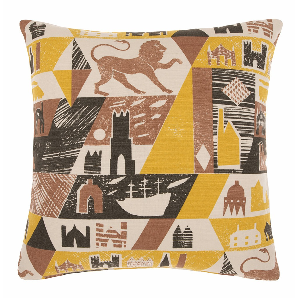 Cushion cover in Lionheart design by Ed Kluz Yellow/Burnt Umber