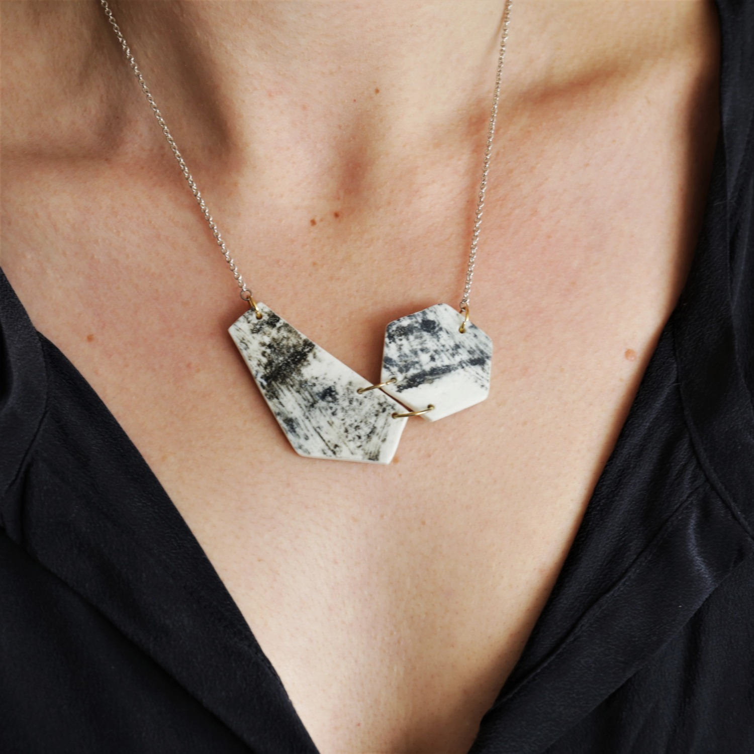 Porcelain and silver linked abstract necklace by Clay Shed Studio