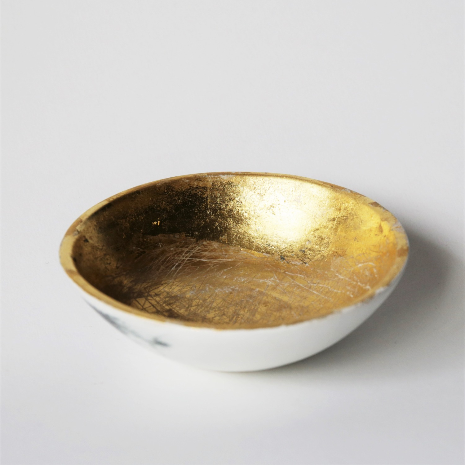 Hand thrown stoneware bowl with 23.5 carat gold leaf by Clay Shed Studio