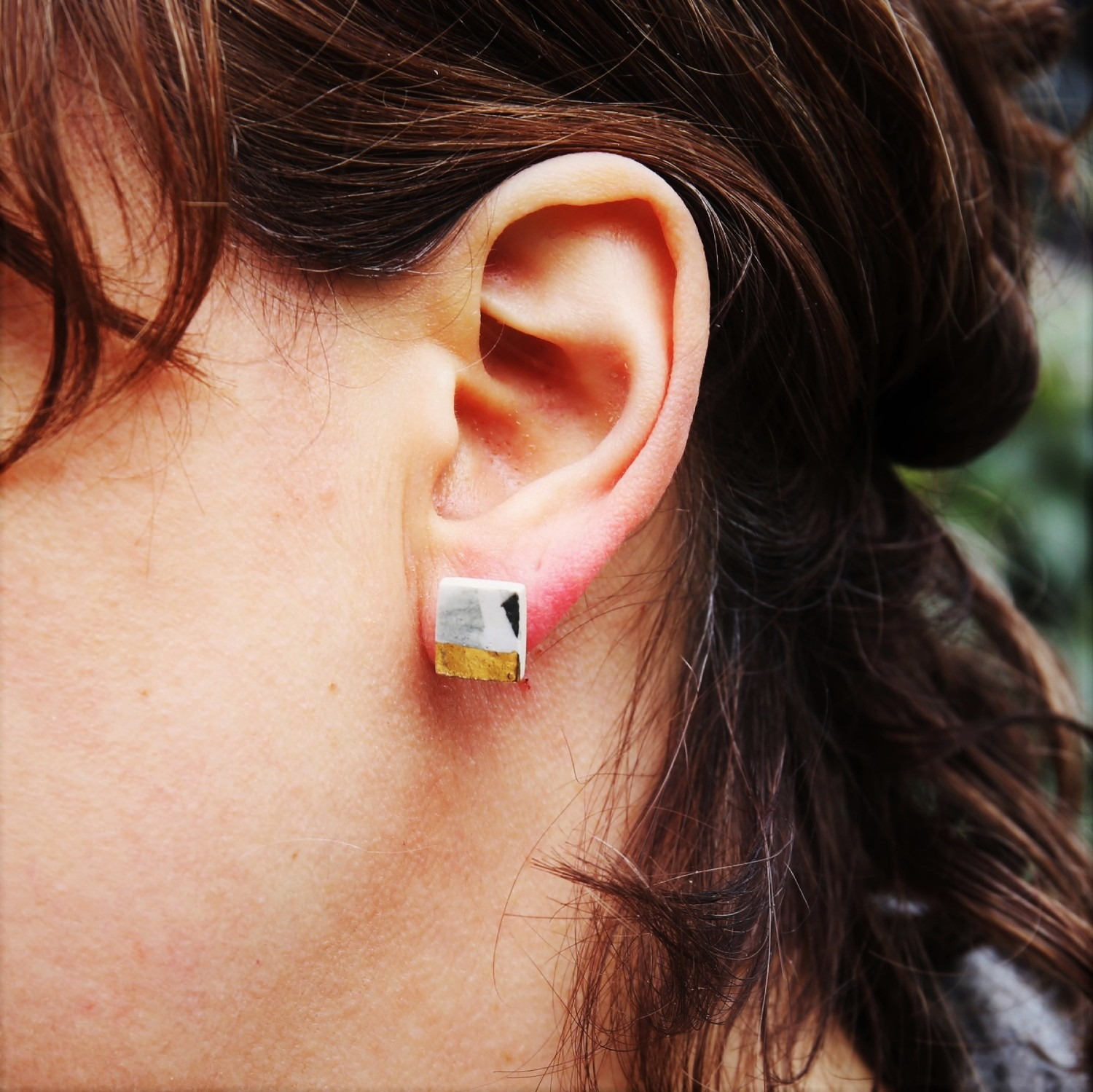 Ceramic earrings with gold lustre on silver studs by Clay Shed Studio