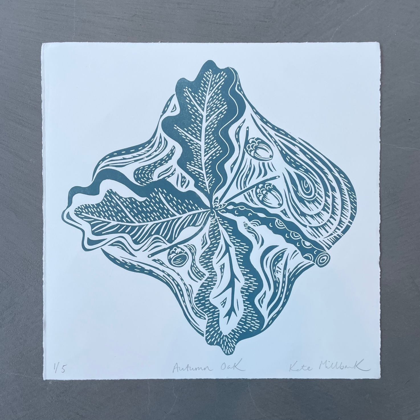 Autumn Oak Lino Print by Kate Millbank