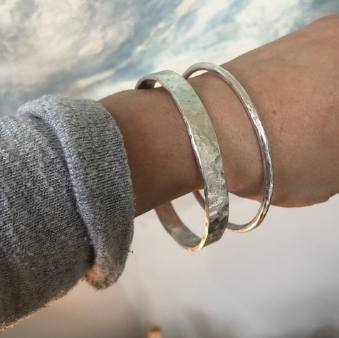 Chunky textured silver bracelet by Lucy Spink