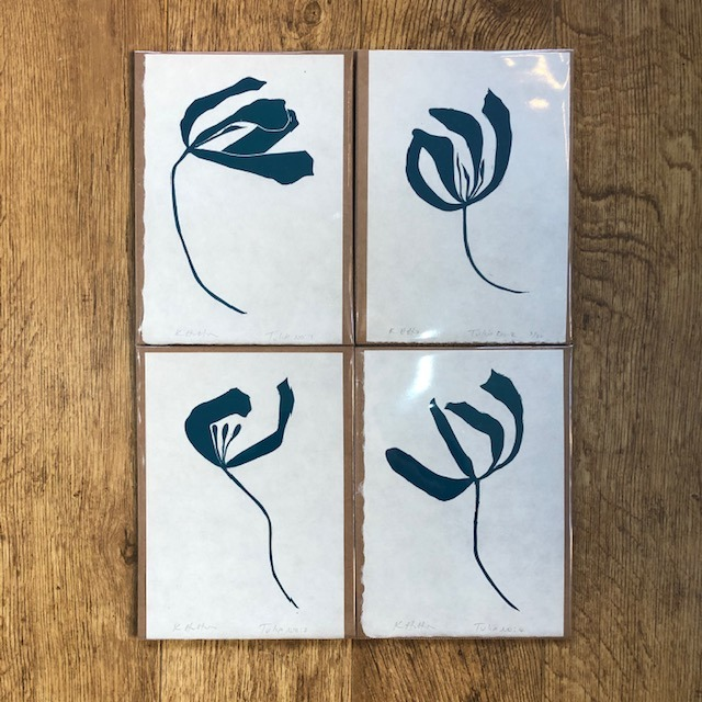 Tulip No. 1 single study lino print in Teal by Kathy Hutton