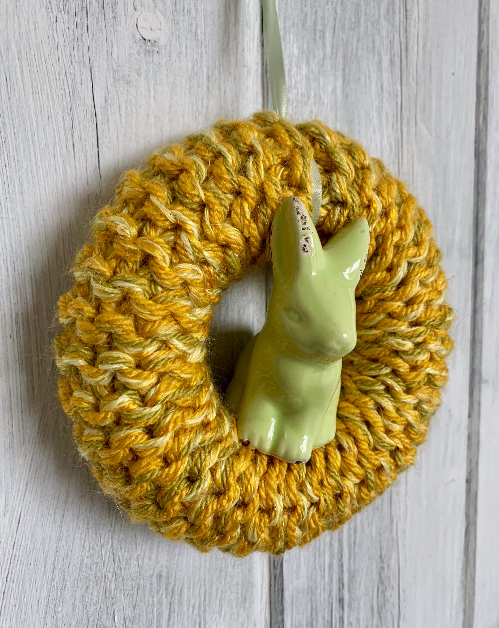 Hand Knitted Easter Bunny Wreath, Yellow Small