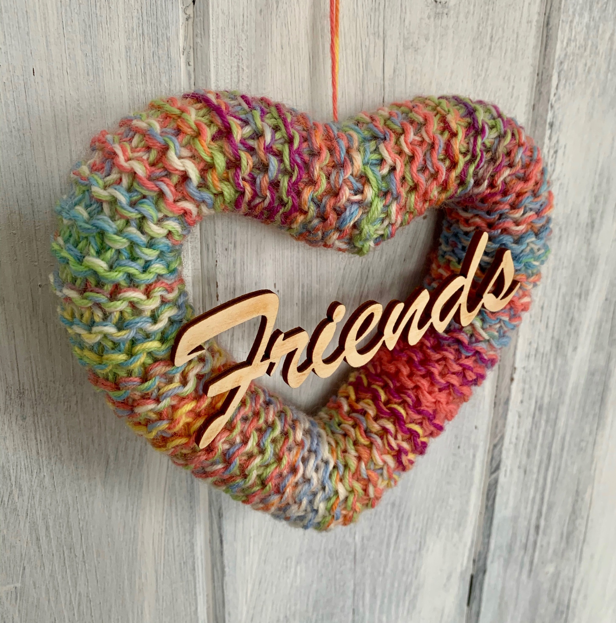 Hand Knitted Galentines Heart.