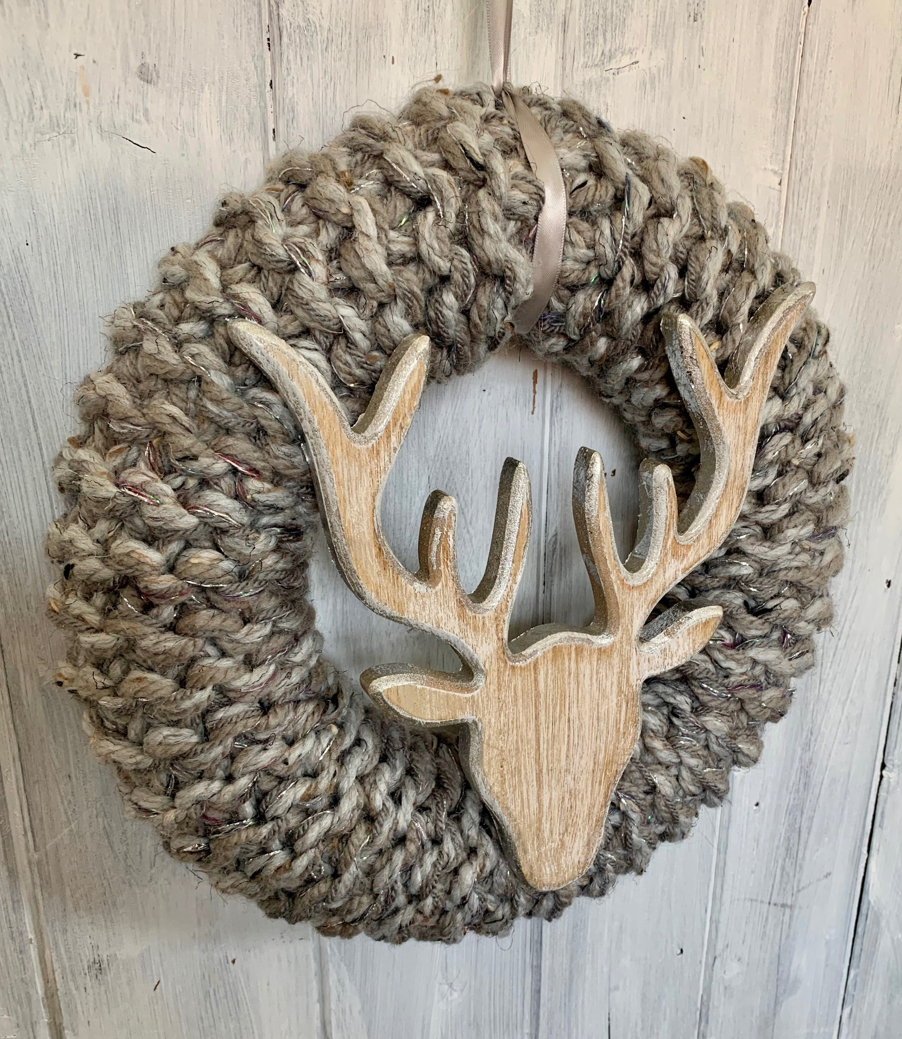 Large Hand knitted Stags Head Christmas Wreath.