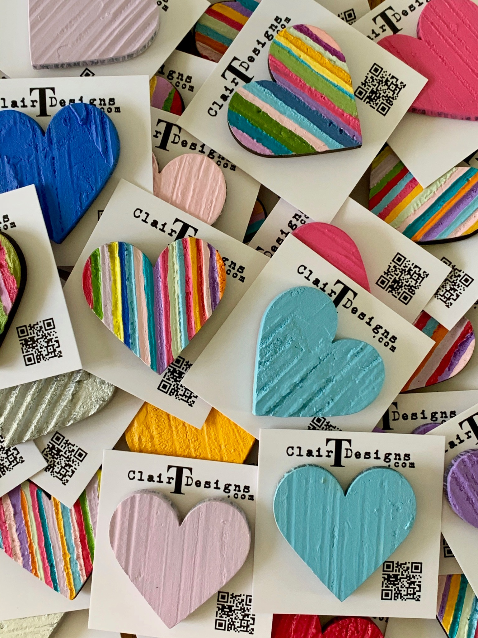 Stripy Hand Painted Pin Badges