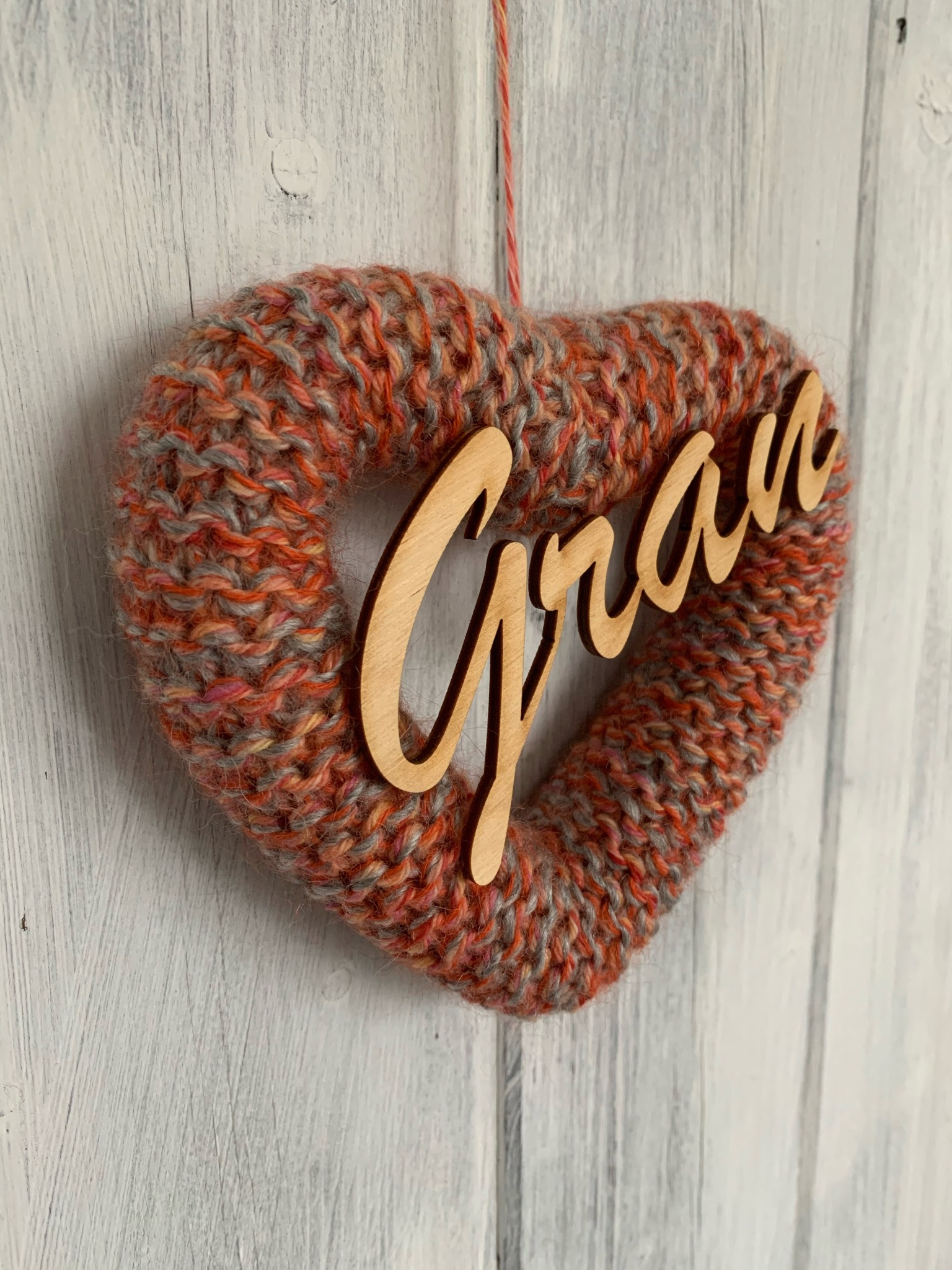 Hand Knitted Heart Mother's Day Gift for the Gran's Mixed Orange