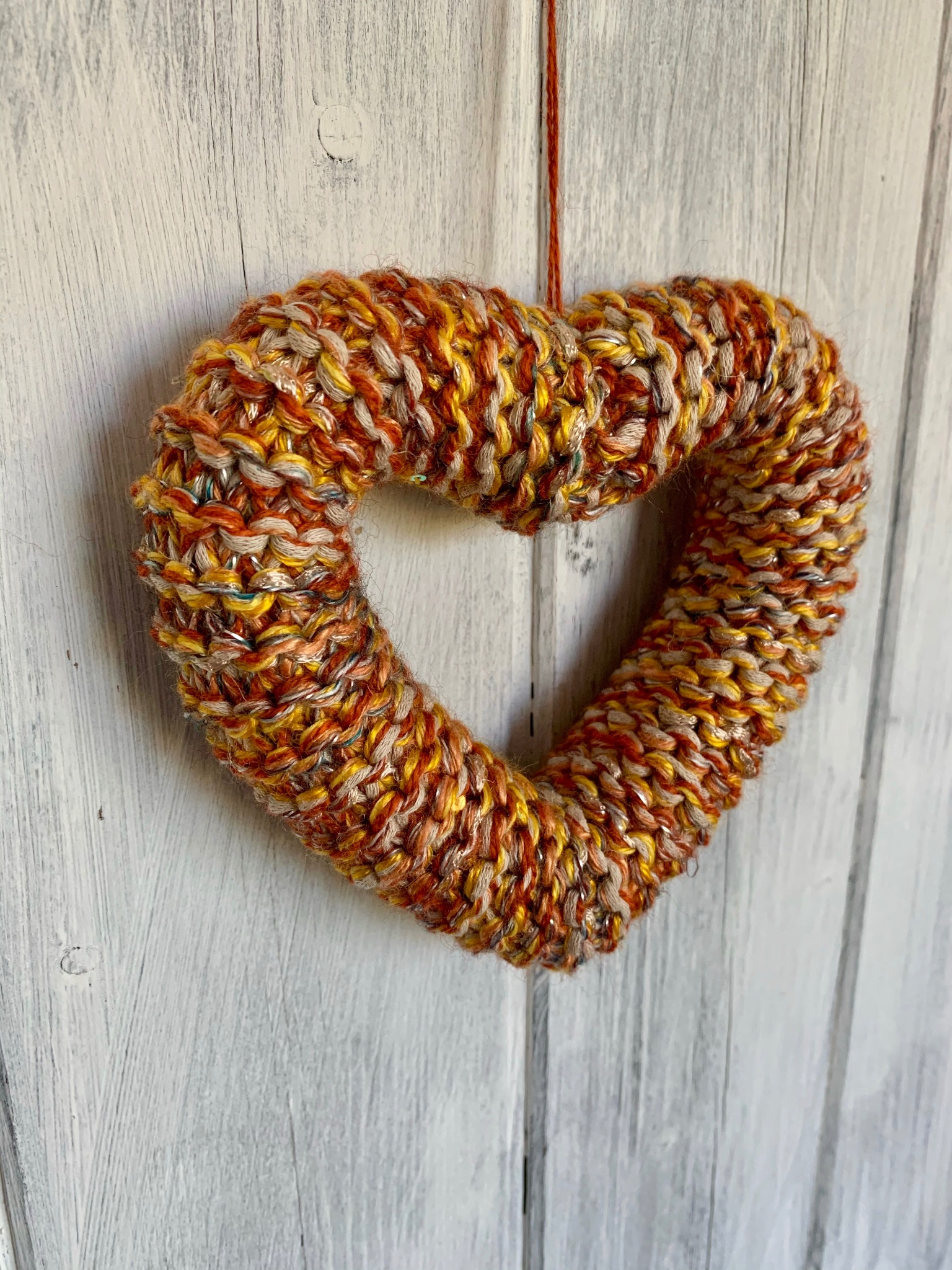 Hand Knitted Hearts Mixed Orange Collection