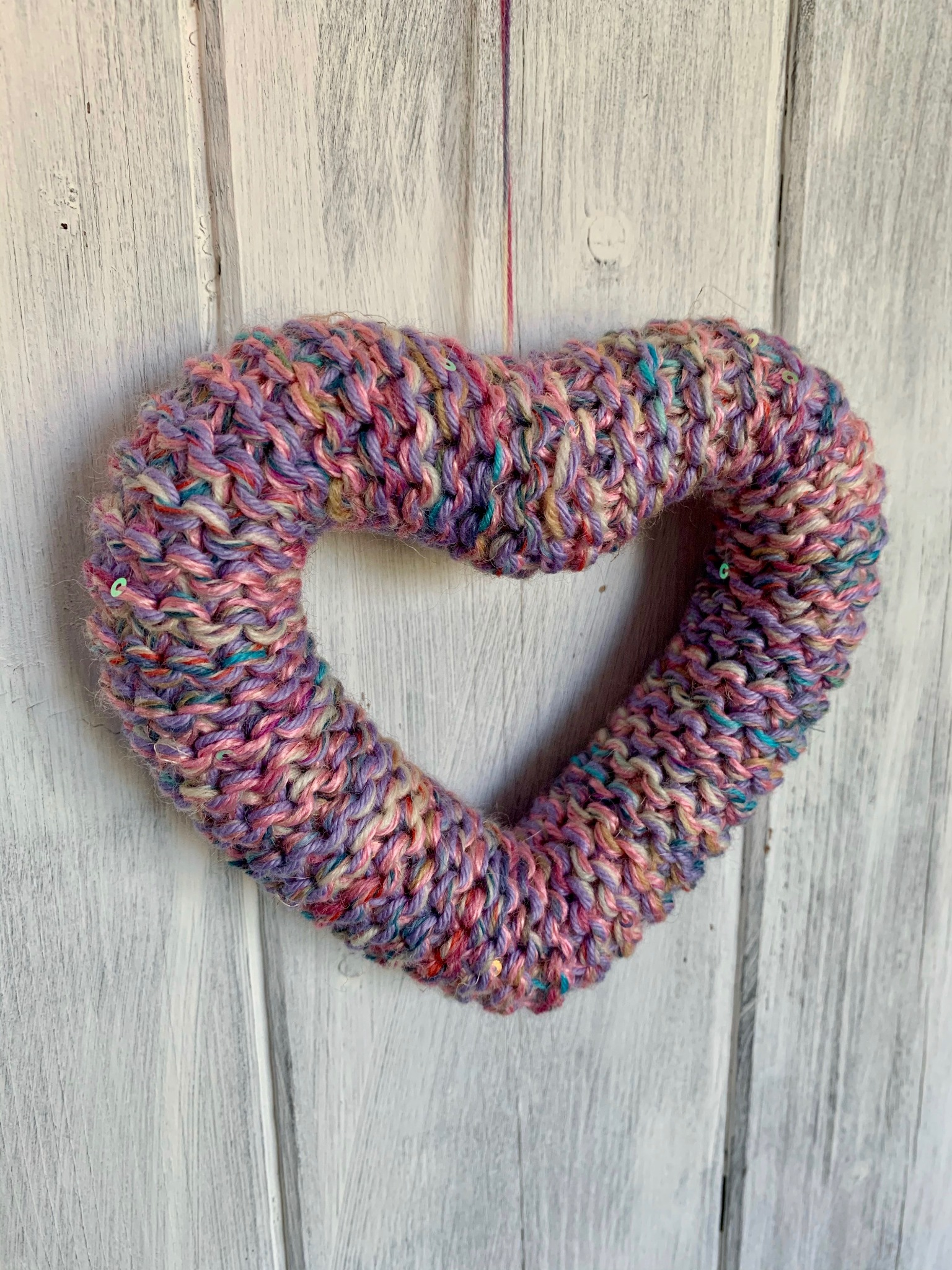 Hand Knitted Hearts Mixed Purple Collection