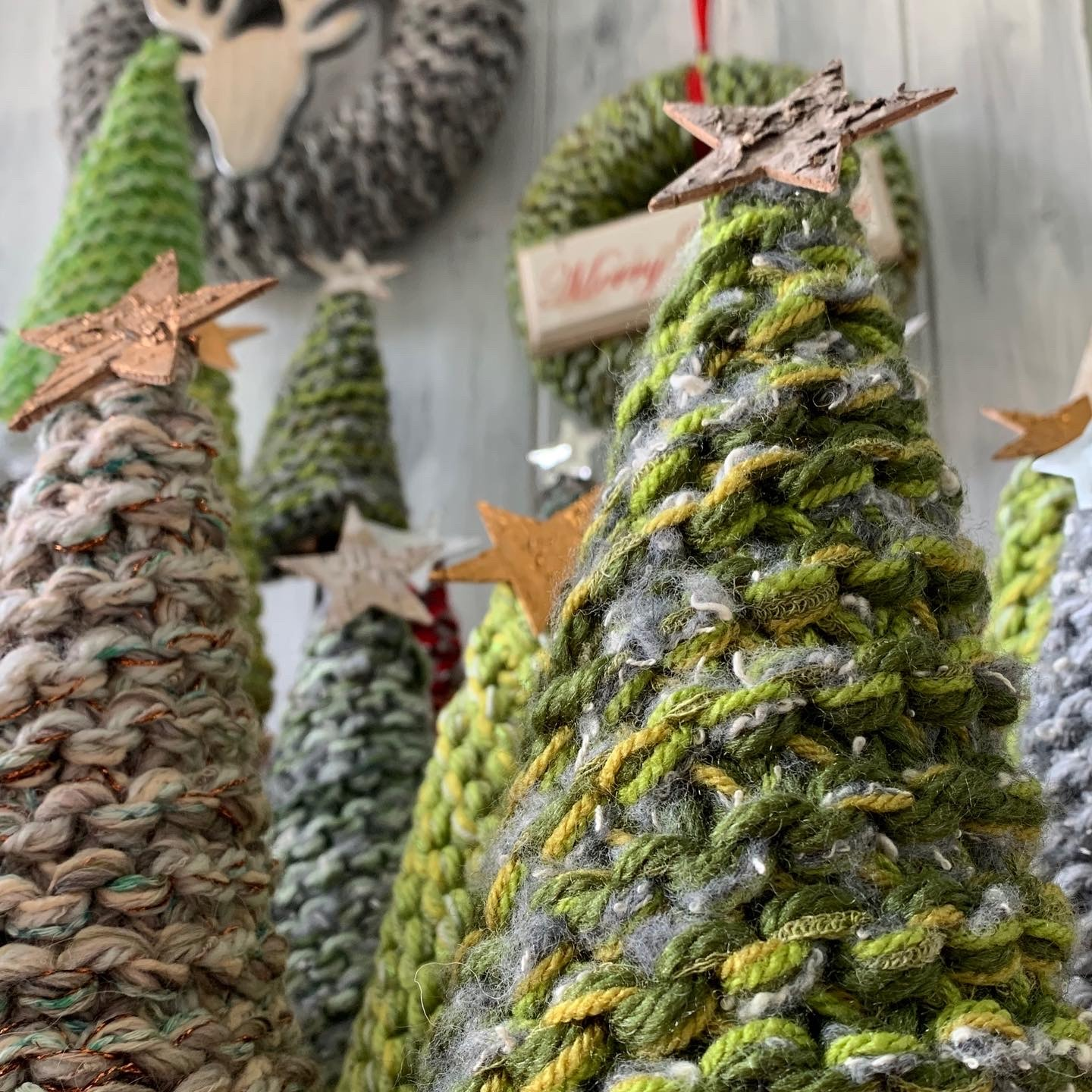 Hand Knitted Christmas Trees