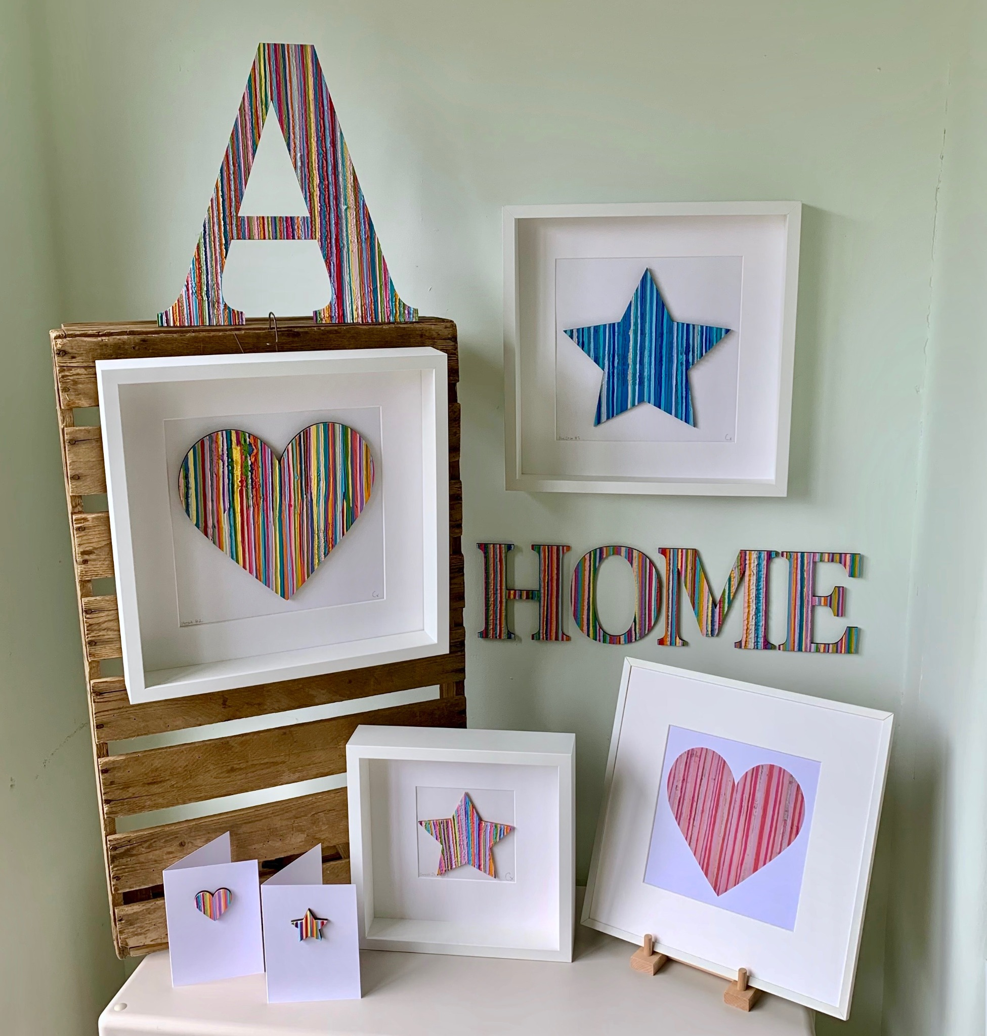 Stripy Hand Painted Greetings Cards