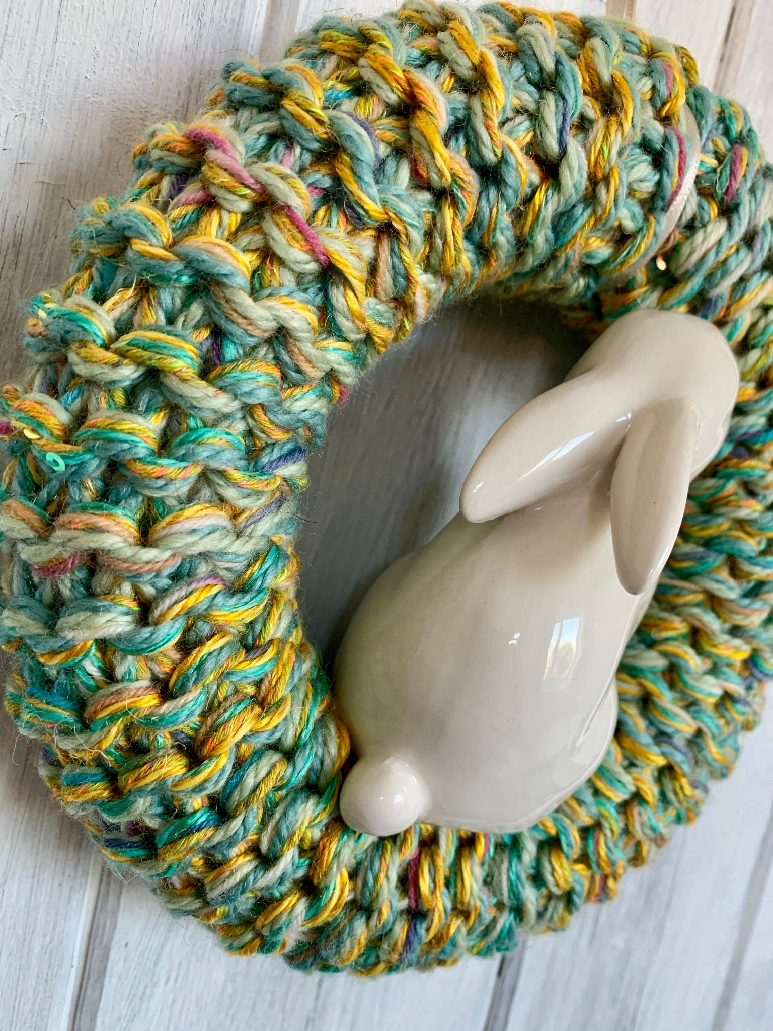 Hand Knitted Easter Bunny Wreath, Green