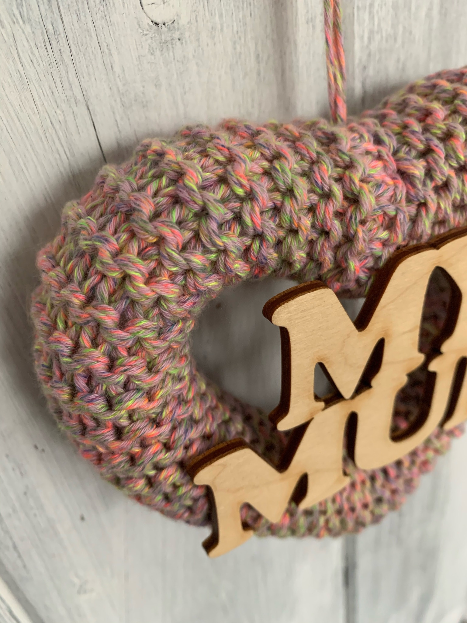Hand Knitted Heart, Mother's Day Gift, My Mum Mix Neon Pink.