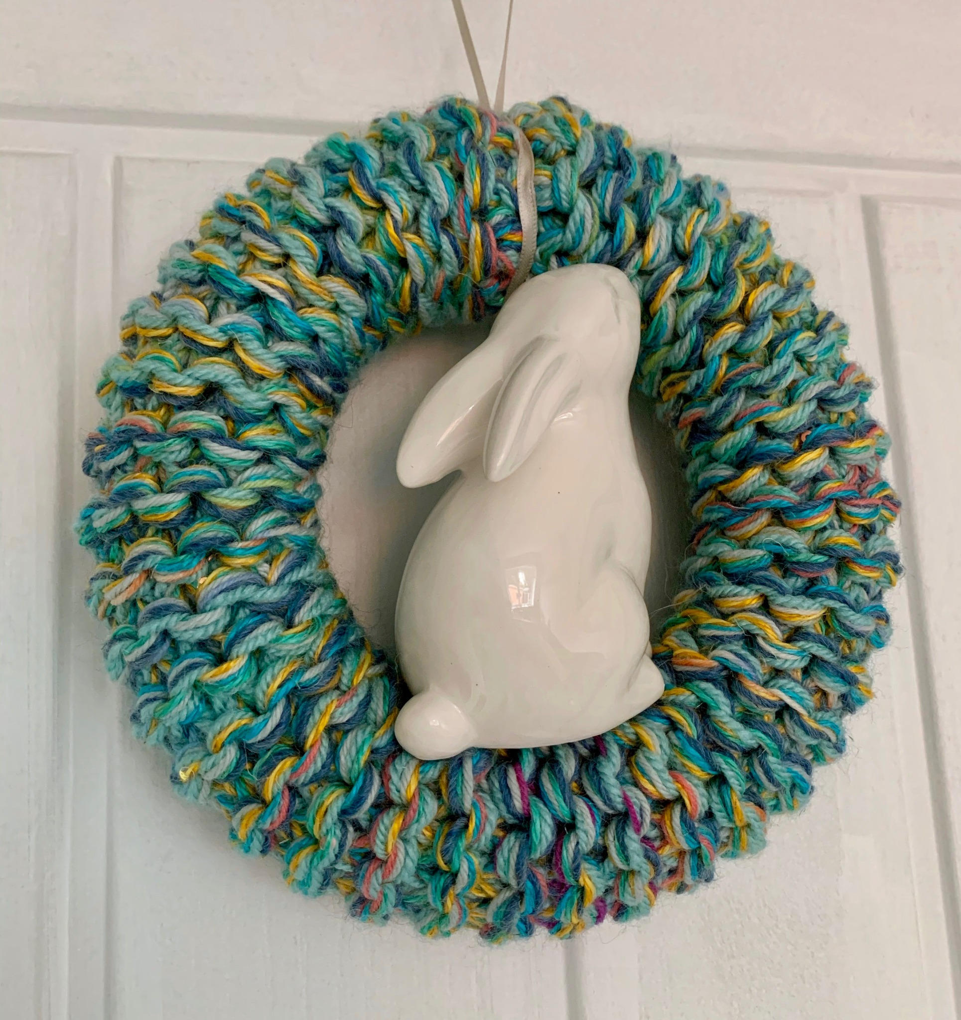 Hand Knitted Easter Bunny Wreath, Blue