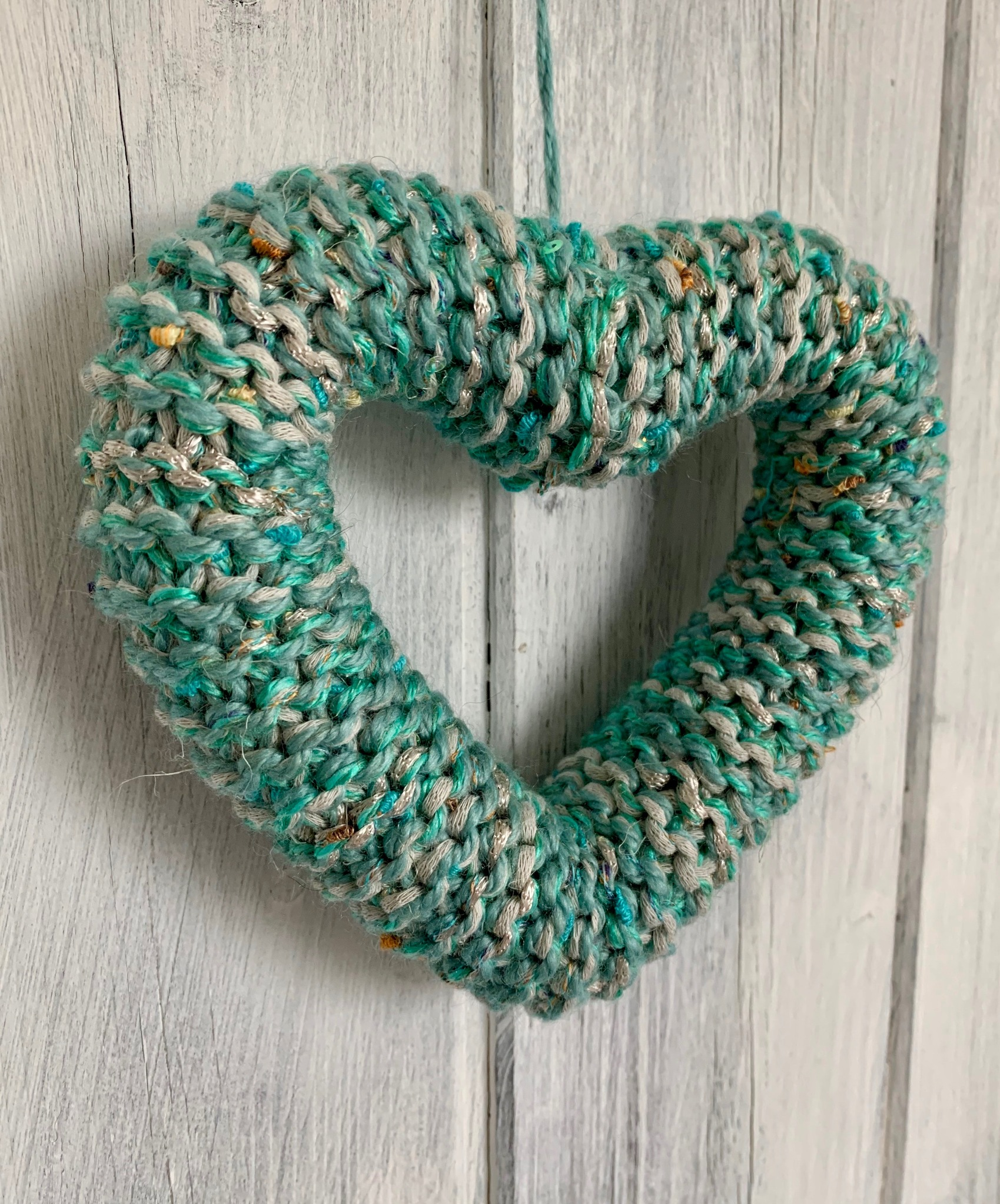 Hand Knitted Hearts Mixed Blues Collection