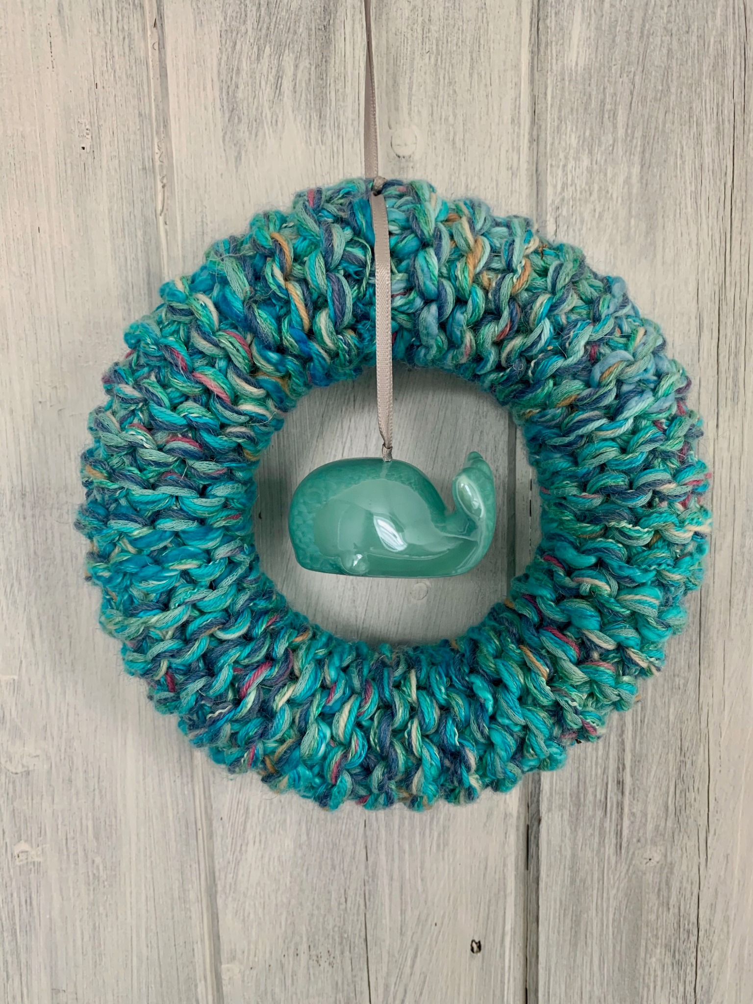 Turquoise Knitted Whale Ring
