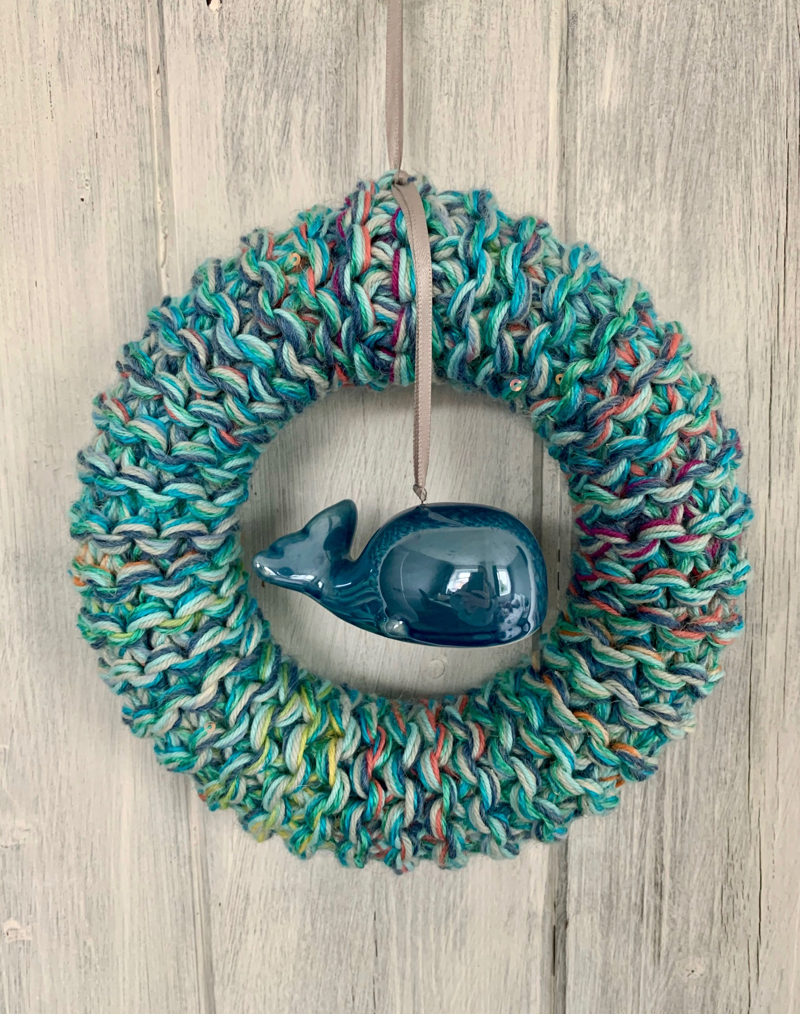 Blue Knitted Whale Ring