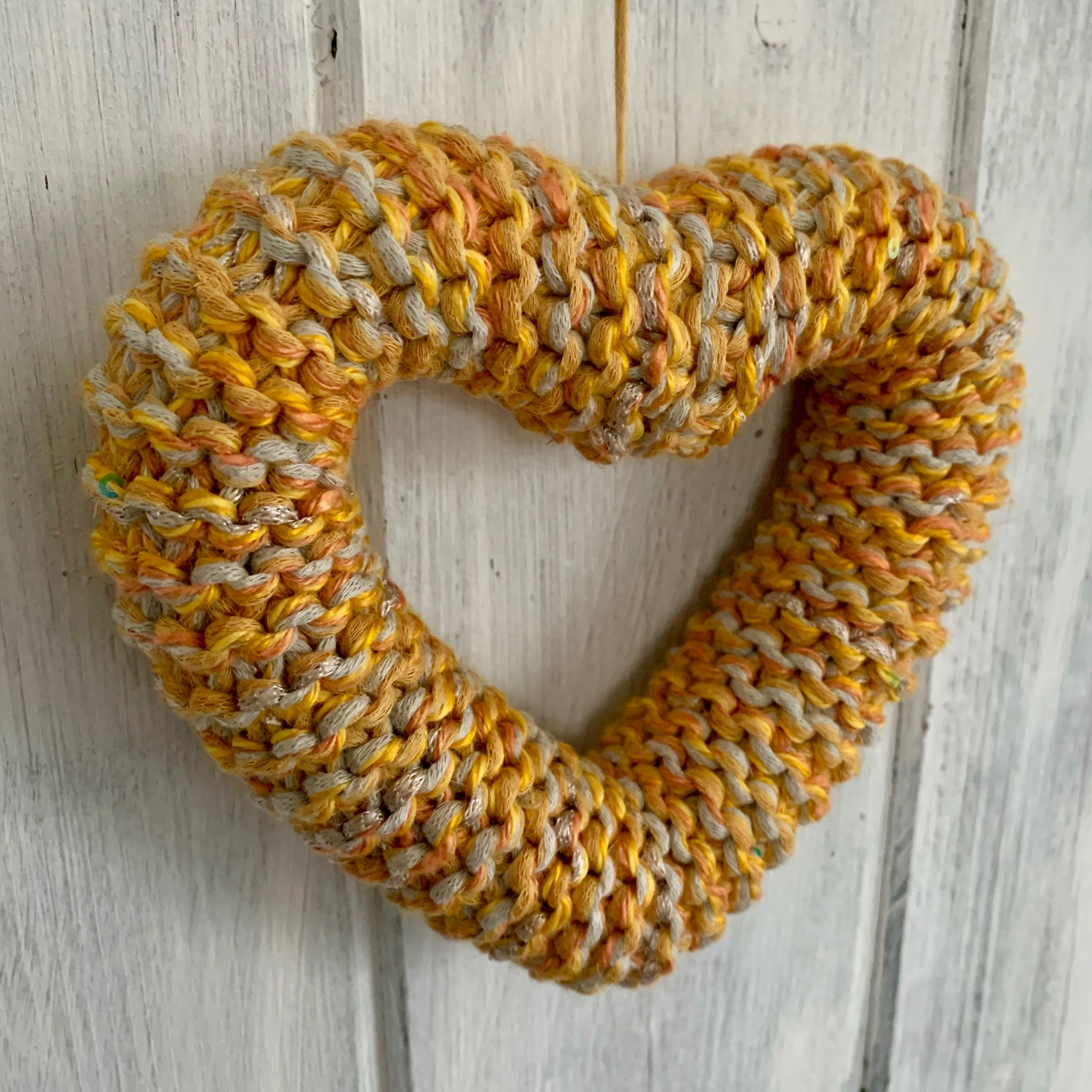 Hand Knitted Hearts Mixed Yellows Collection