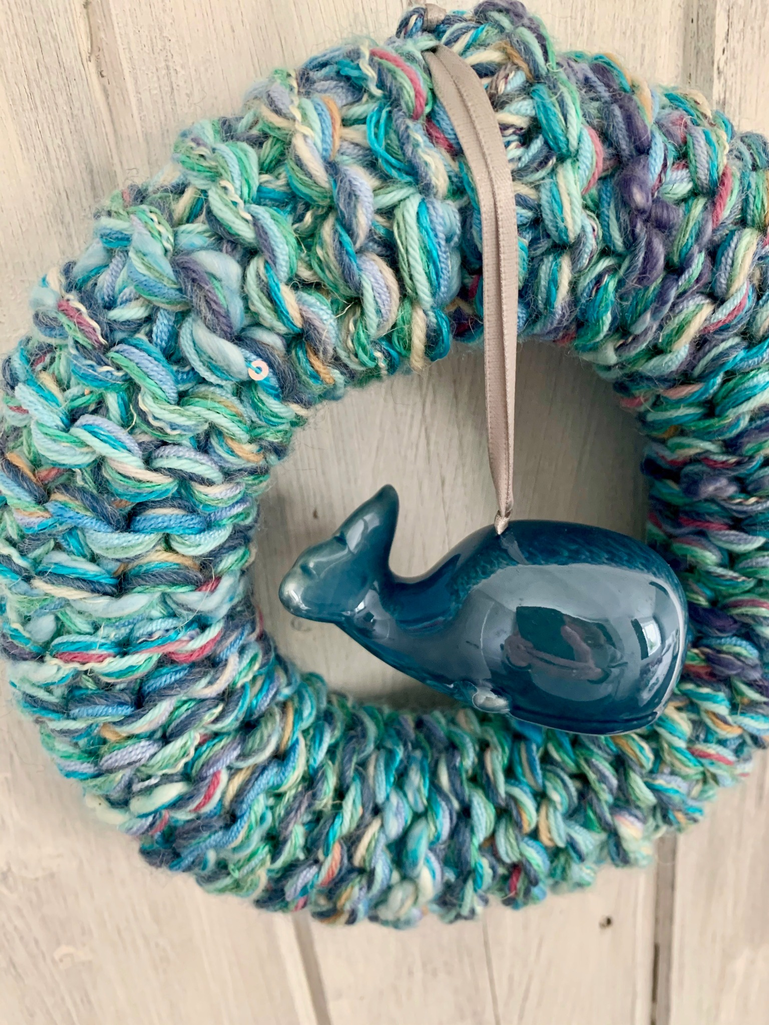 Blue Mix Knitted Whale Ring