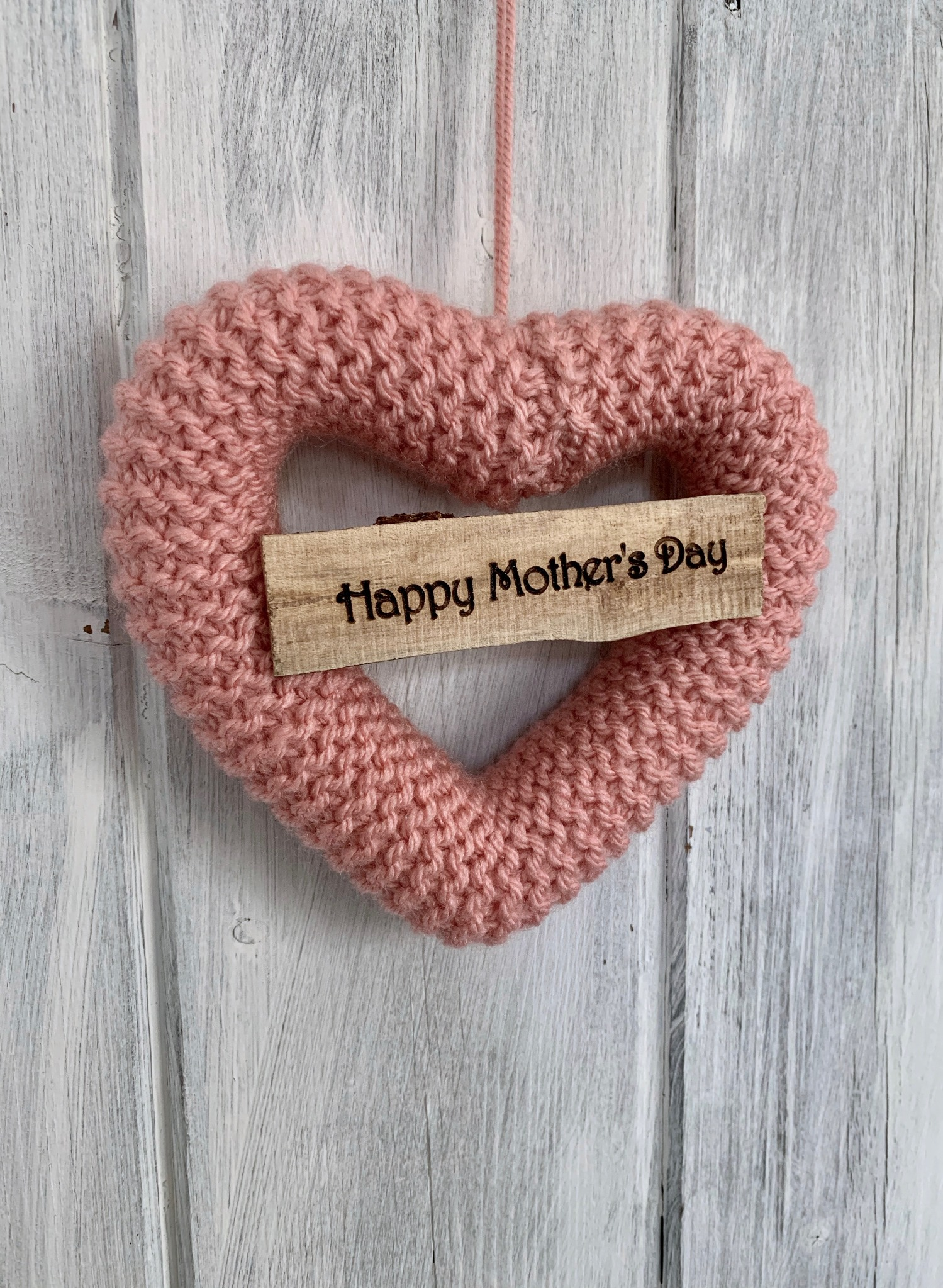 Hand Knitted Heart Happy Mother's Day Gift Pink