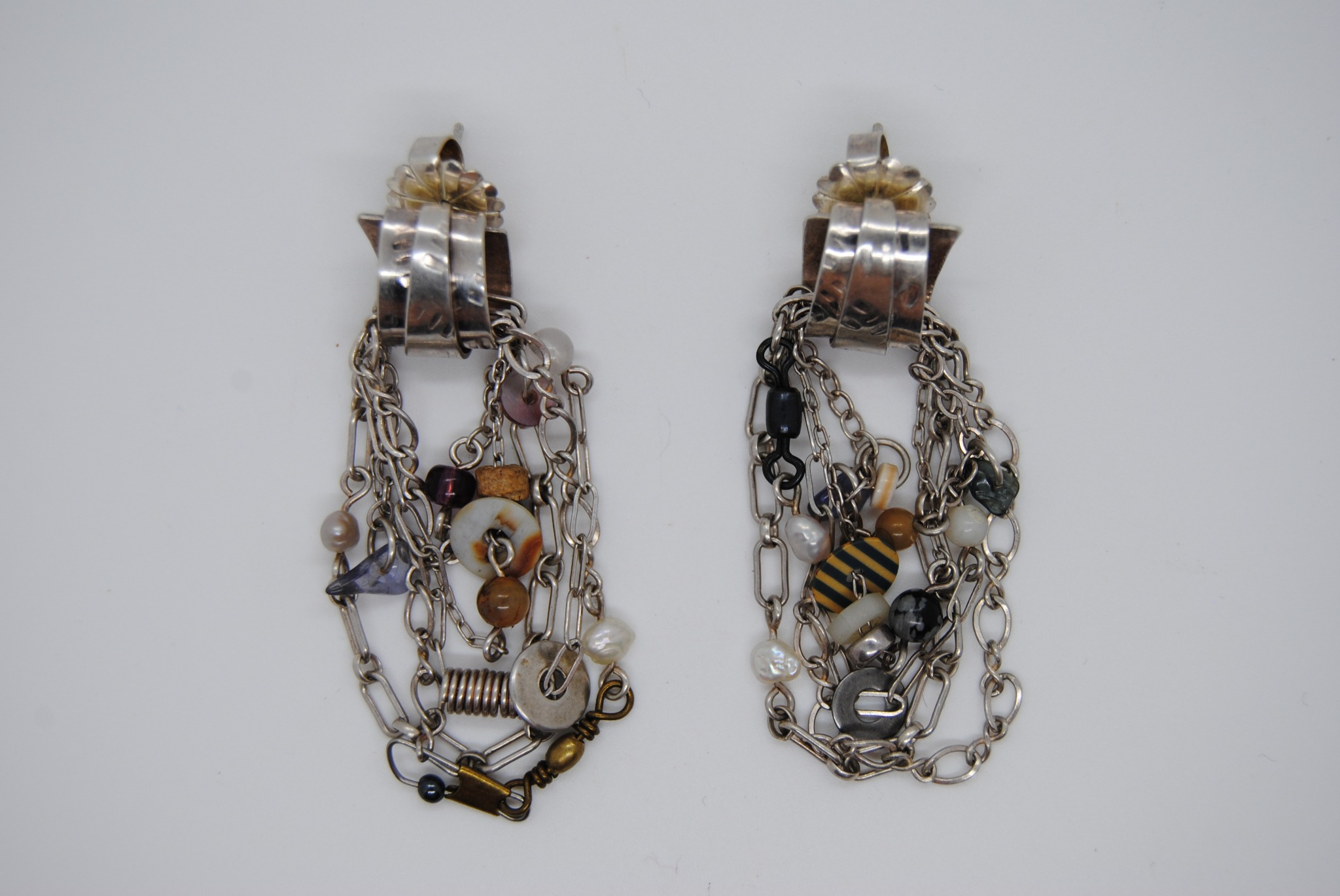 Sterling Silver and Mixed Metal Modern Art Earrings (T)