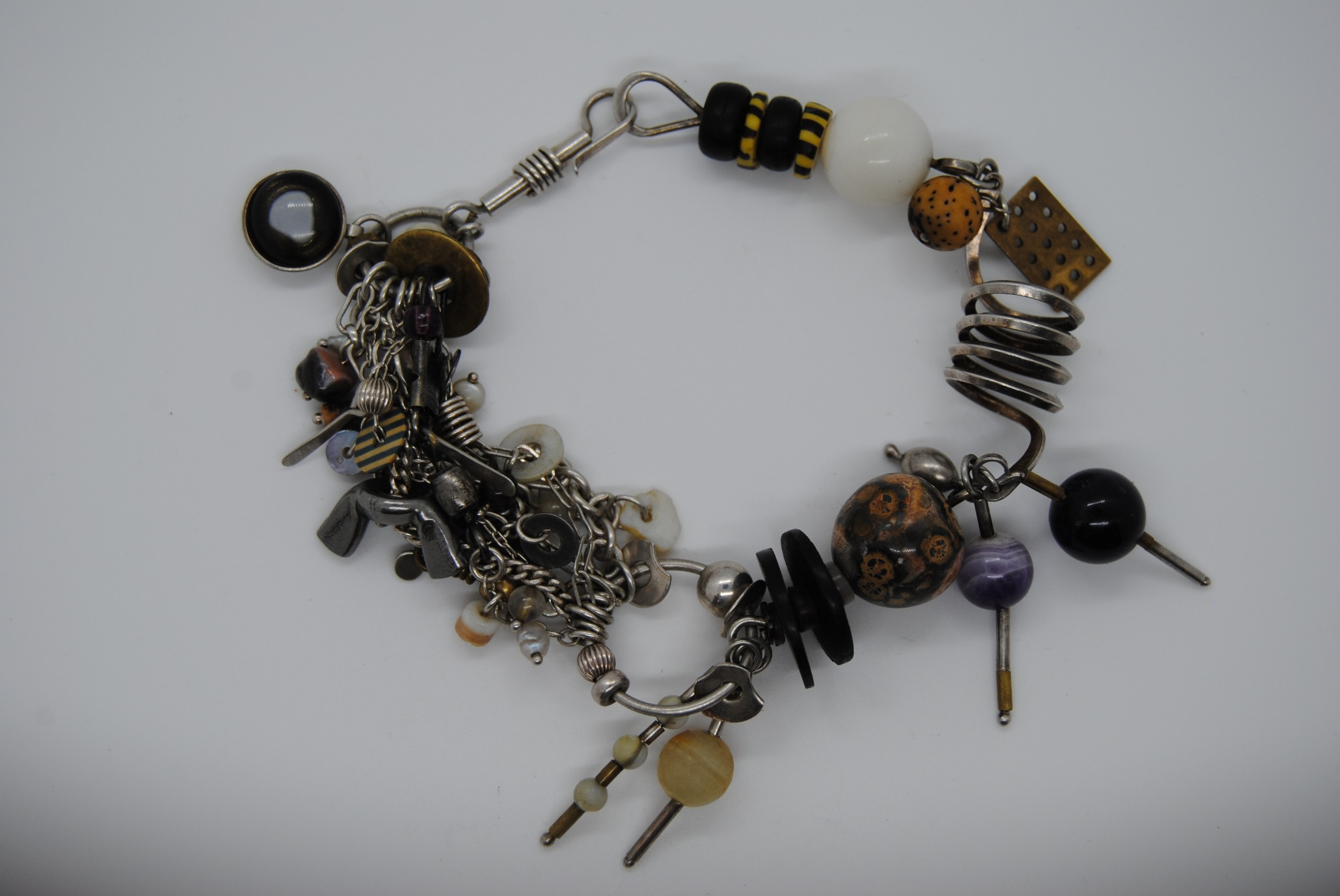 Sterling Silver and Mixed Metal Modern Art Bracelet (T)