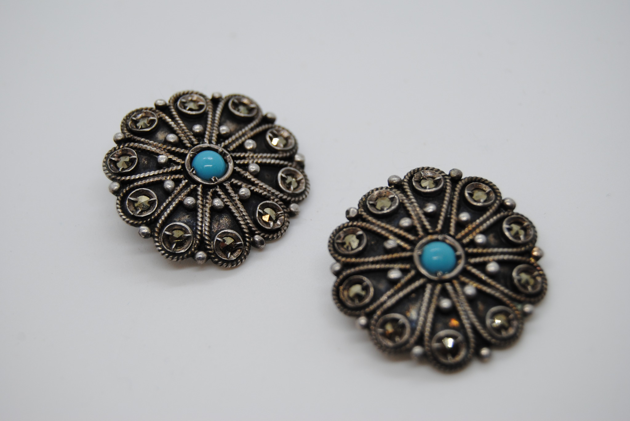 """800 Silver Marcasite and Turquoise Clip On Earrings 1"""" (T)"""