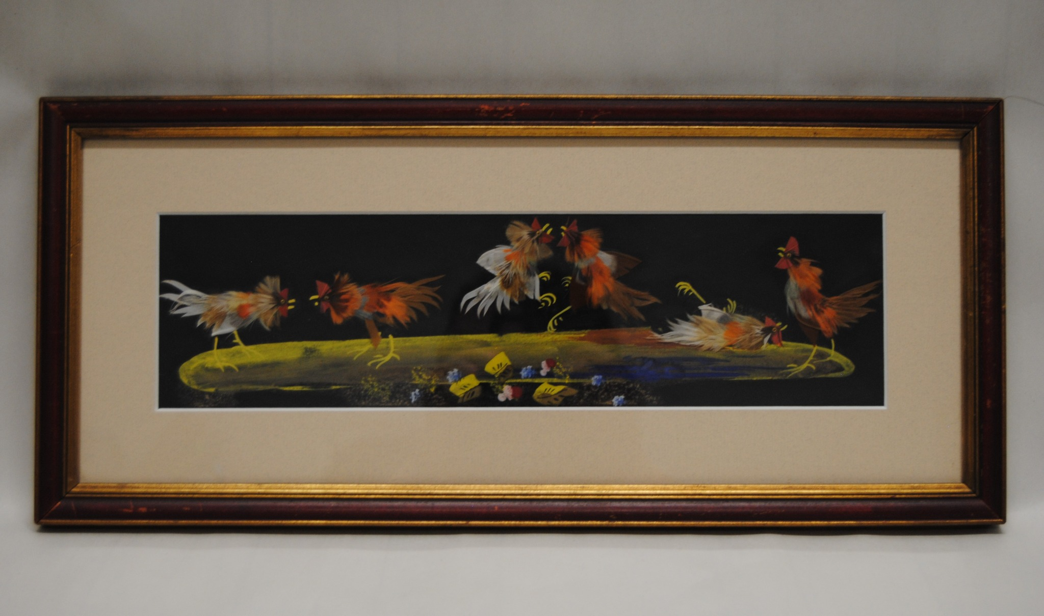 Vintage 1920's Mexican Feathercraft Art Framed and Matted (E)