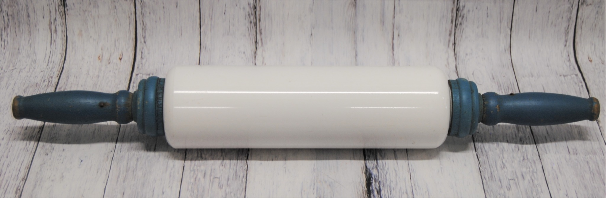 Vintage Milk Glass Rolling Pin with Blue Handles  (T)
