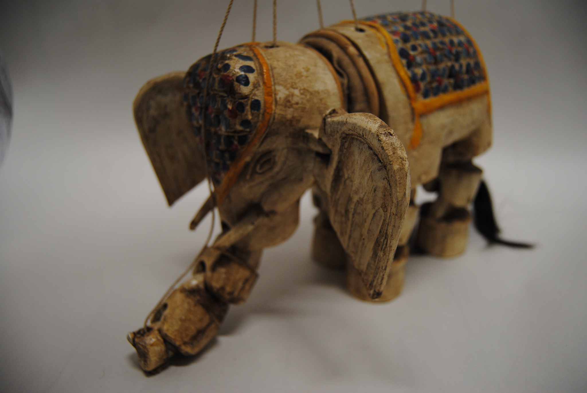 Vintage Marionette Hand Carved and Painted Real Hair Tail  Elephant (B)