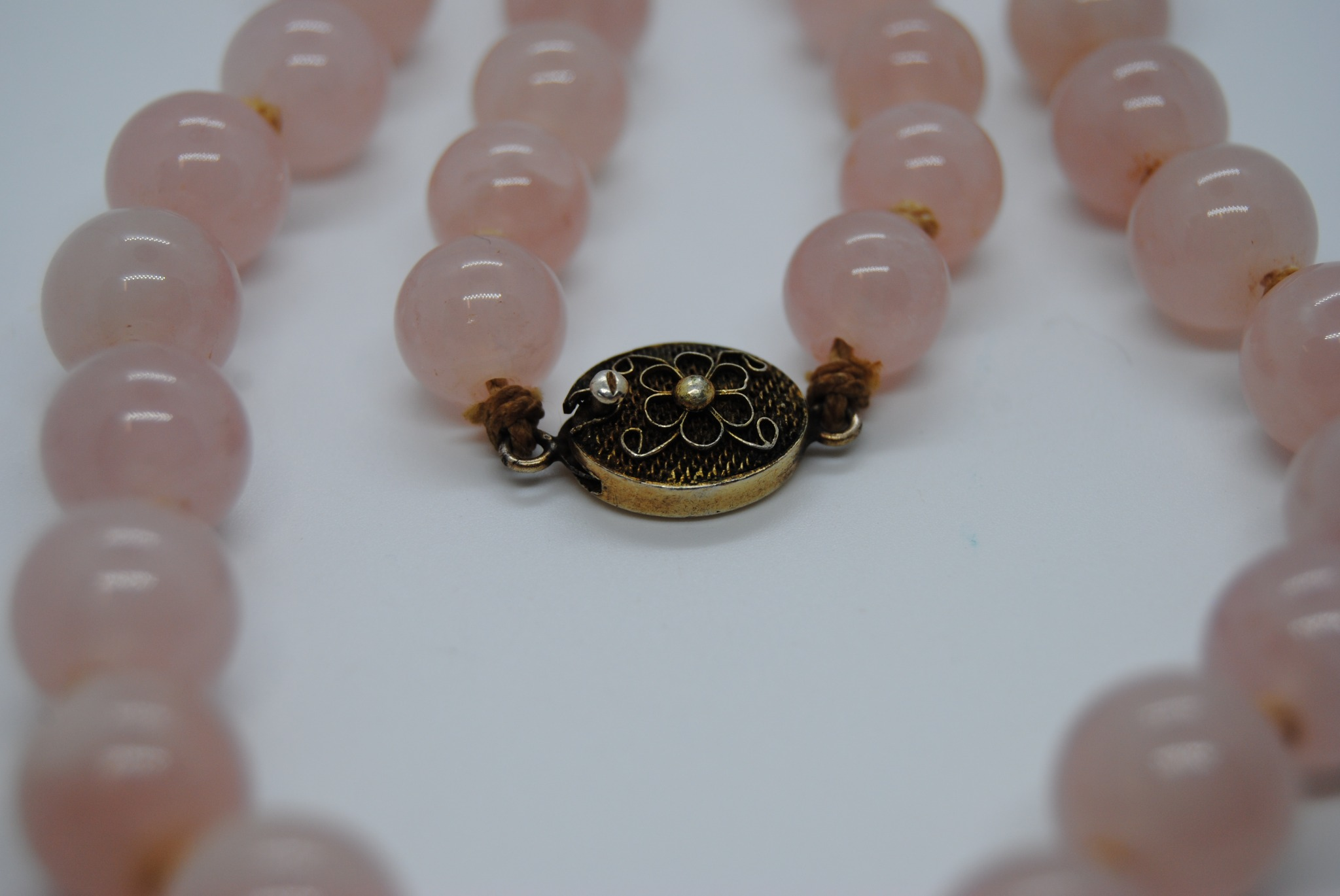 """22"""" Rose Quartz Hand Knotted Necklace with Sterling Silver Clasp (T)"""