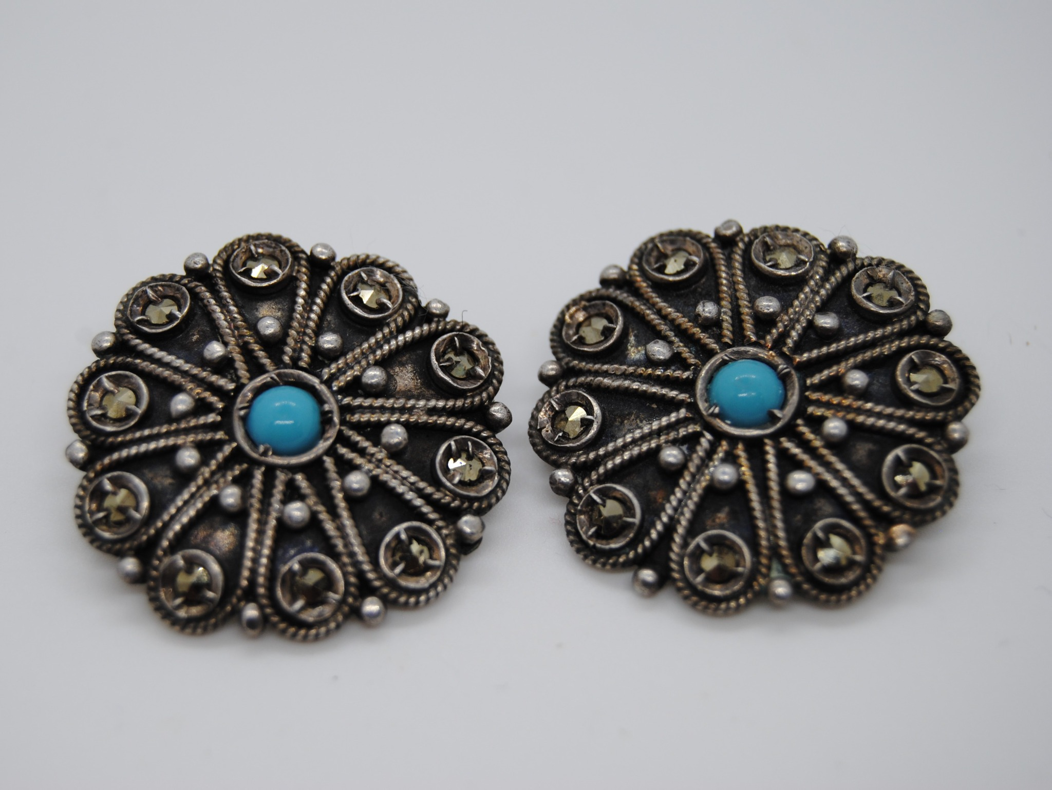 800 Silver Marcasite and Turquoise Clip On Earrings 1