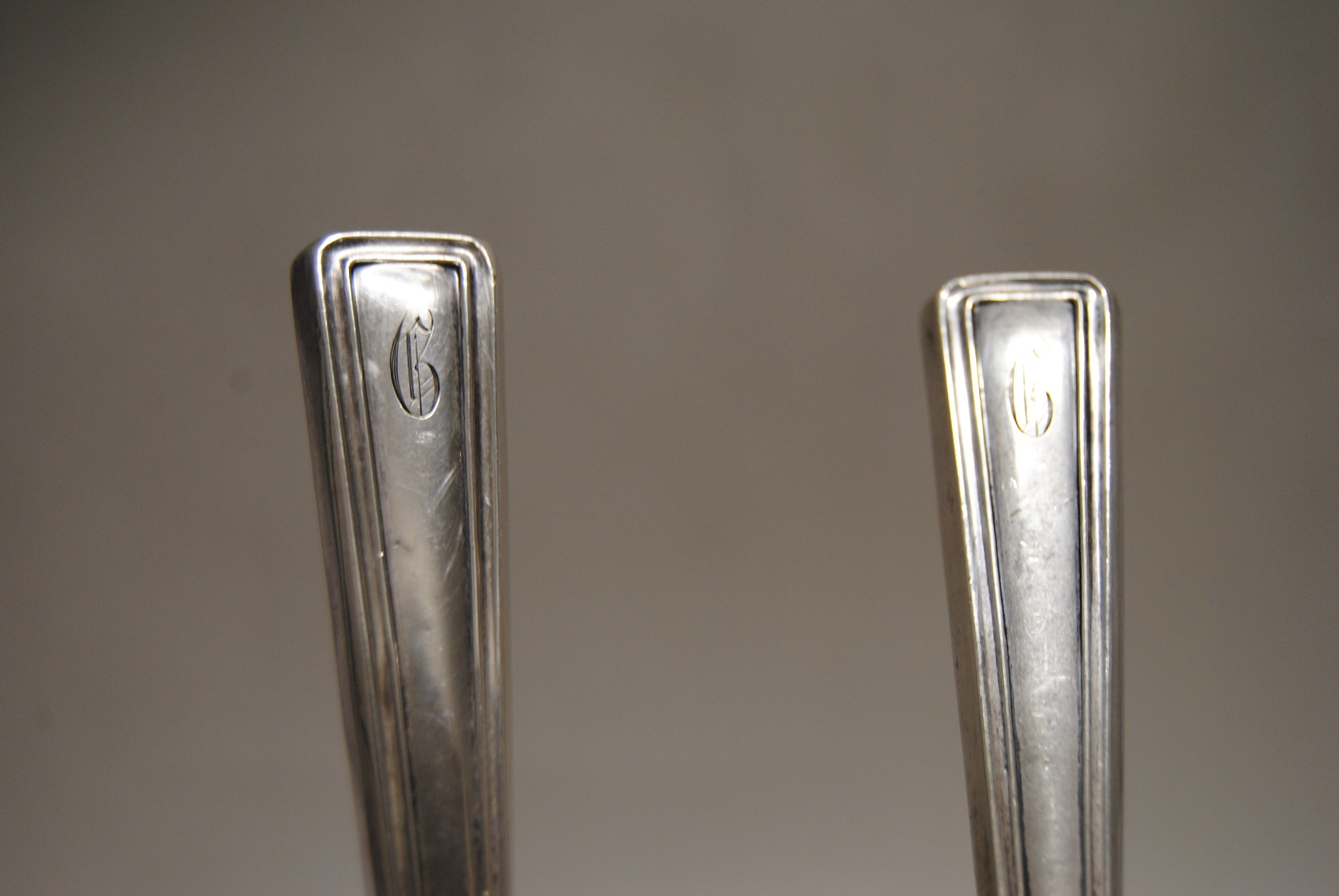 Sterling Silver and Wood Salad Serving Set (B)