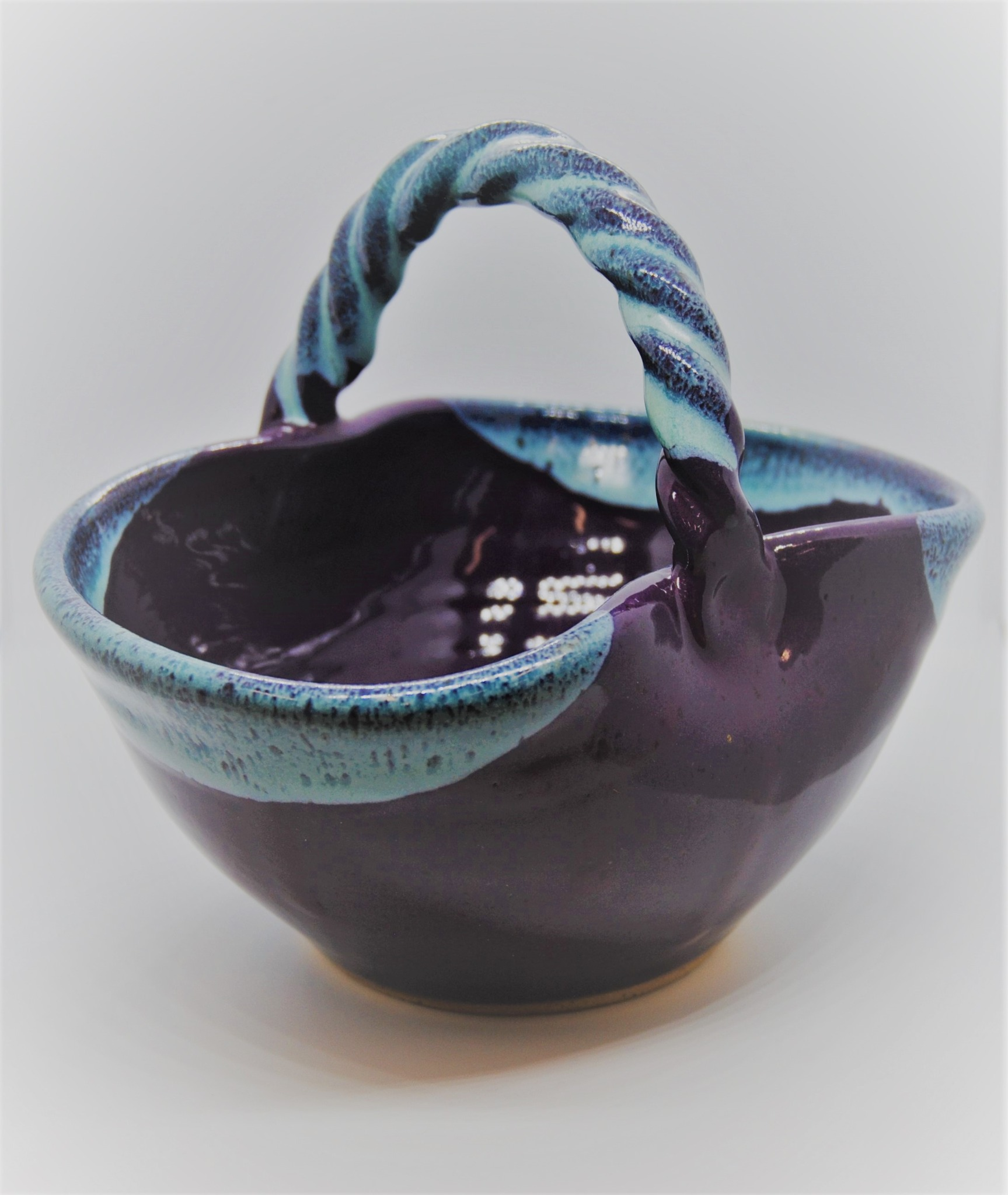 Purple and Blue NC Pottery Seagroves Kings Pottery Basket