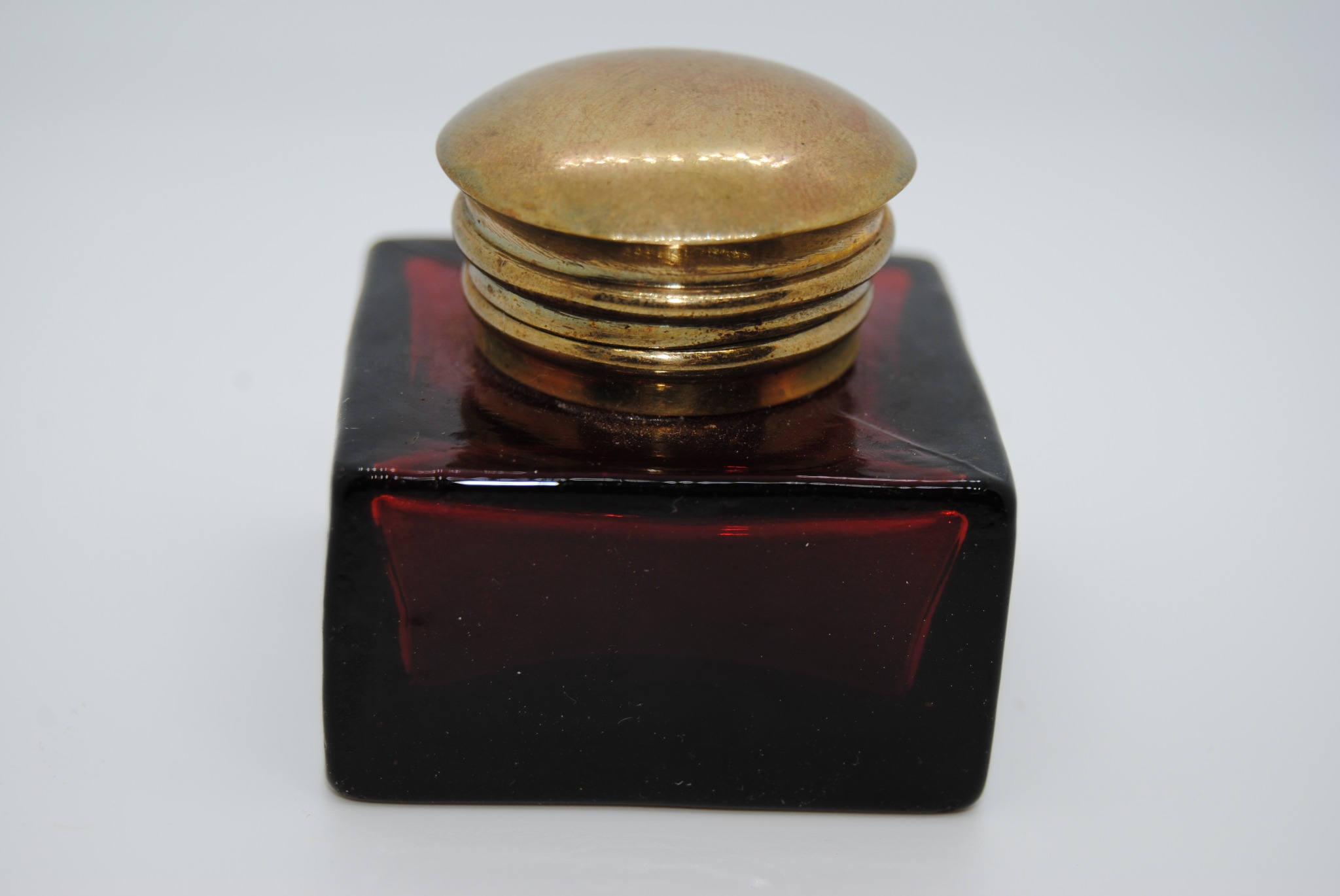 Vintage Amber Glass Inkwell with Brass Hinged Lid