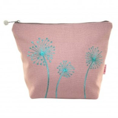 Hand embroidered Dandelion cosmetic pouch