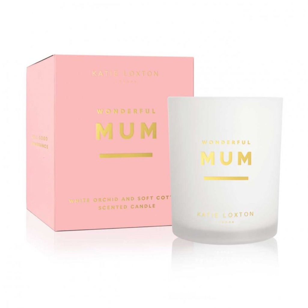 Katie Loxton 'Wonderful Mum'  White orchid & soft cotton scented candle