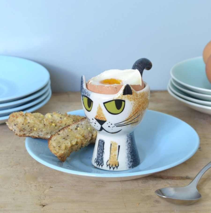 Hannah Turner tortoise shell cat egg cup