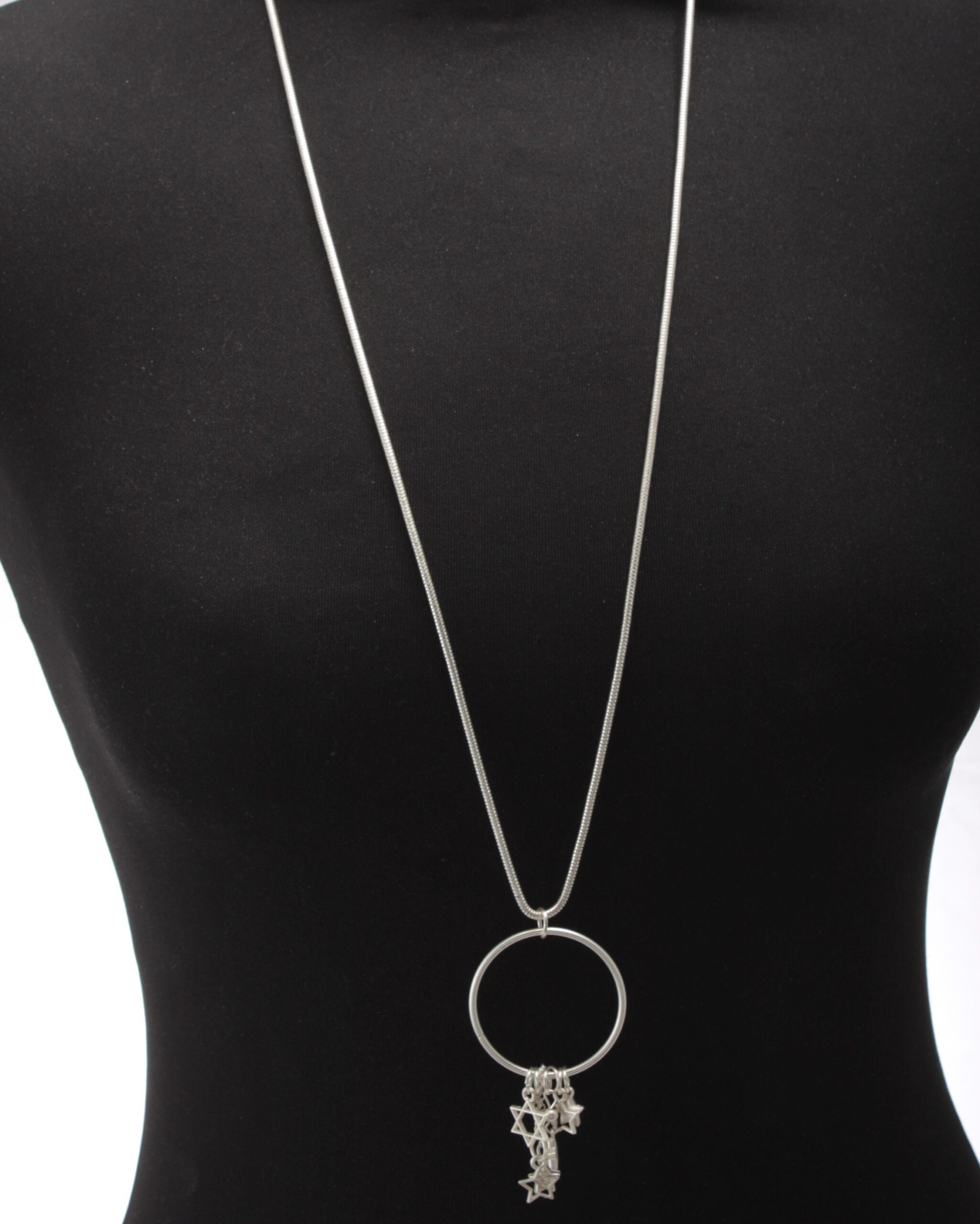 Long silver cascading stars necklace