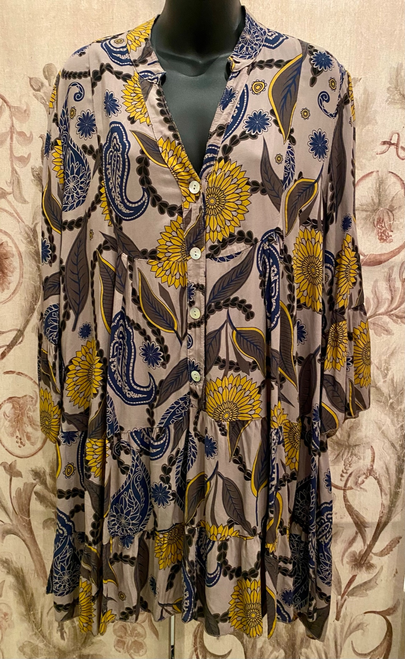 Sunflower print tunic dress