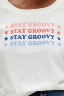 Sugarhill Sylvie organic cotton scoopneck 'Stay Groovy' t shirt